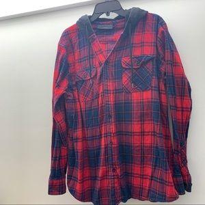 Plaid Flannel w/ Sweatshirt Hood
